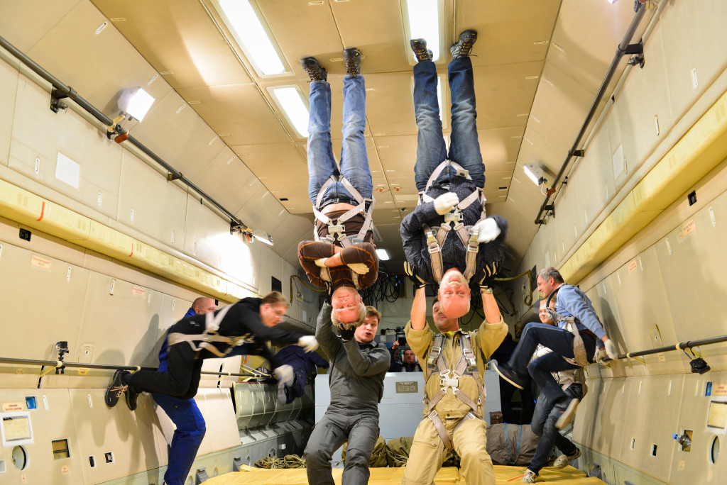 The co-founder and CEO of Kaspersky, Eugene Kaspersky, experiencing the zero gravity