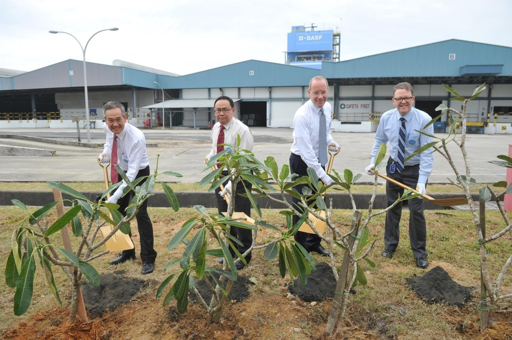 Tree planting ceremony to signify BASF's sustainability commitment towards the environment and community.