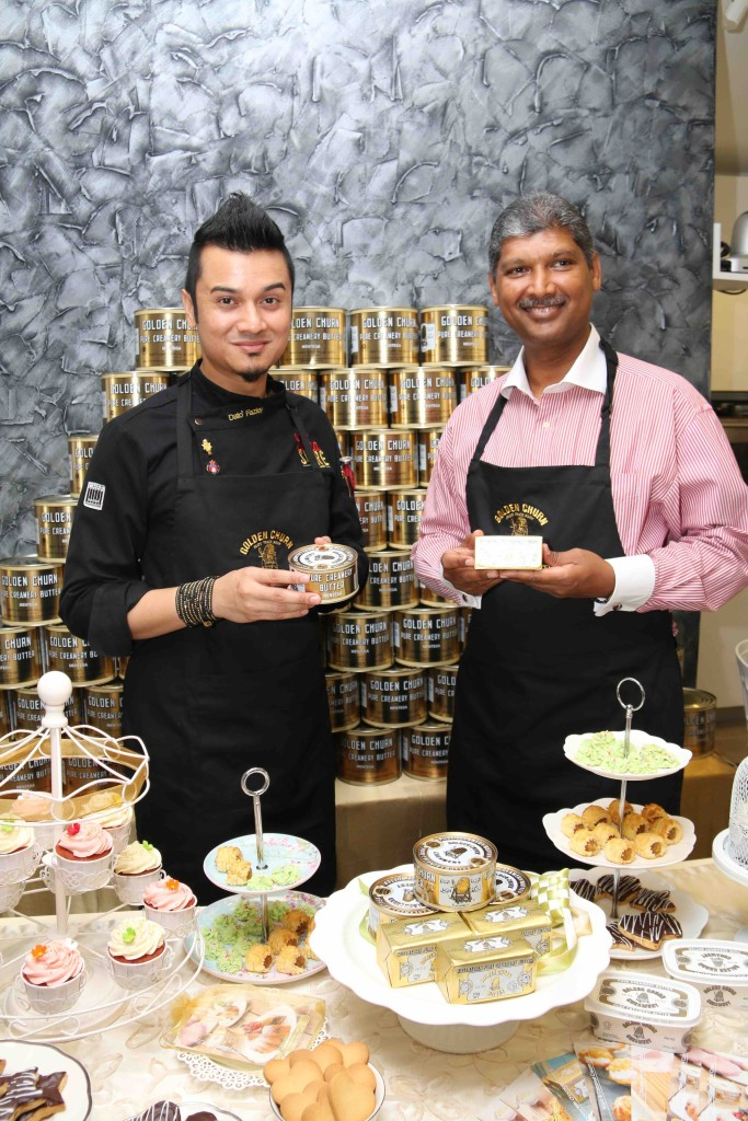 Chef Dato' Fazley Yaakob with General Manager, GBA Corporation Sdn Bhd, Mr Mohan Alagappar showing the Wholesome Goodness of Golden Churn Butter