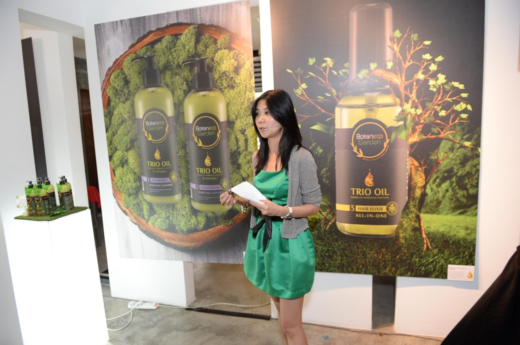Ms Cheryl Young, Corporate Brand Marketing Manager, Group Health & Beauty Private Label introduces the range available in Botaneco Garden Trio Oil Hair & Body Collection during The Botaneco Garden Trio Oil Exhibition & Gallery Tour