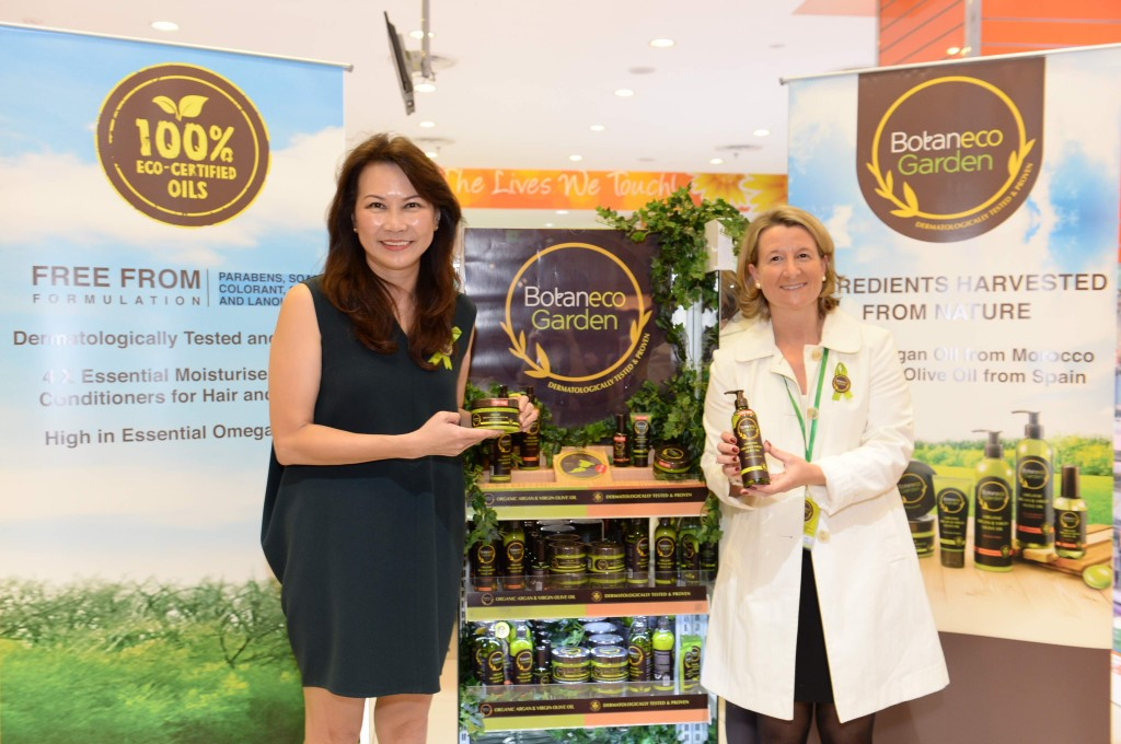 Ms Loi Liang Tok, Chief Executive Officer of Guardian Health & Beauty Sdn Bhd and Mrs Segolene Defline, Corporate Brand Director of Health & Beauty at The Dairy Farm Company launched the new Botaneco Garden Organic Argan & Virgin Olive Oil Hair & Body Collection