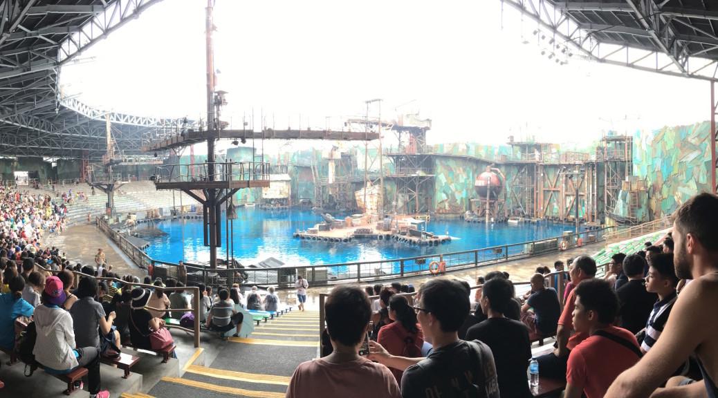 At the Waterworld stunt performance