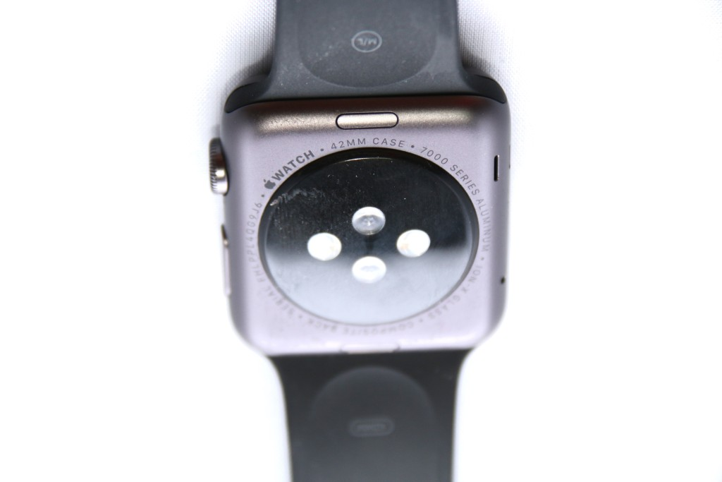 The heart rate monitor.  Also there is a button for you to press to release the strap.  Nice touch Apple.