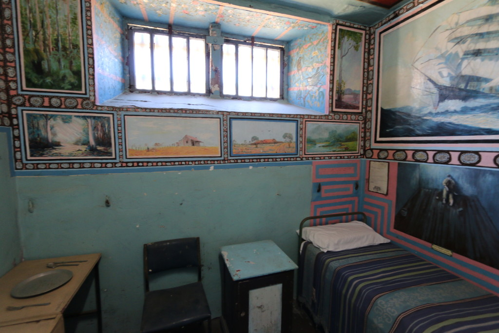 The prisoners were allowed to use paintings and arts as an rehabilitation, which according to the guide was a great help to control the violent prisoners.