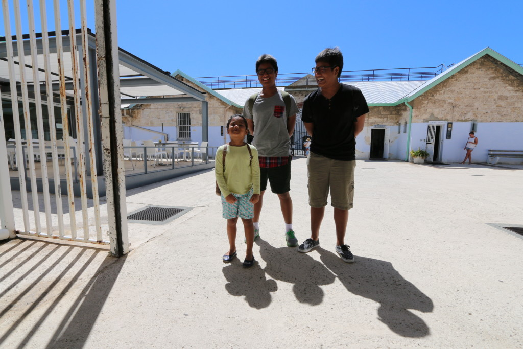 The Tan-Vijayans, at the entrance of Fremantle Prison.