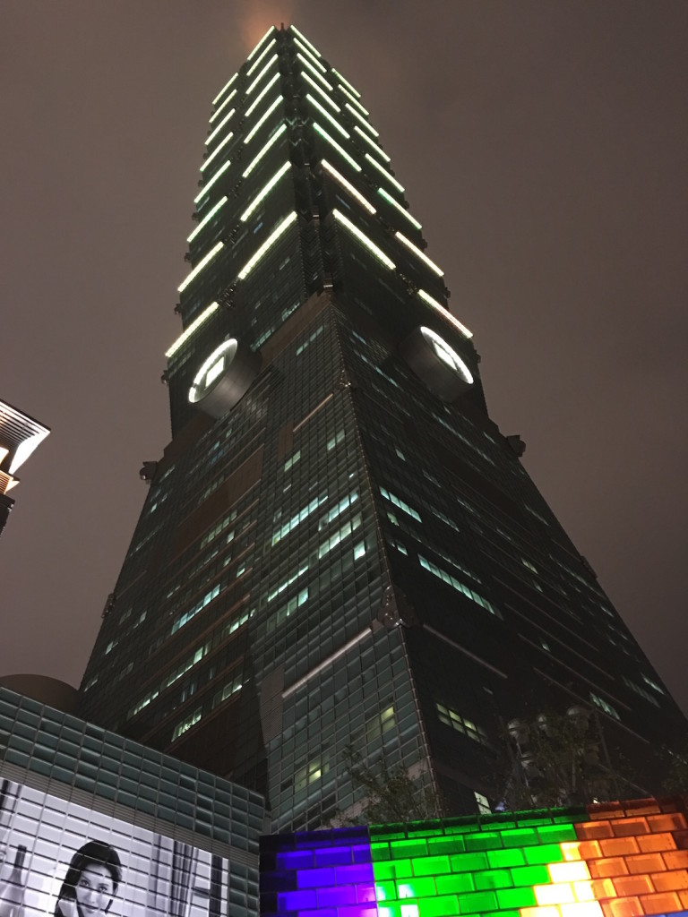 Standing near below the Taipei 101