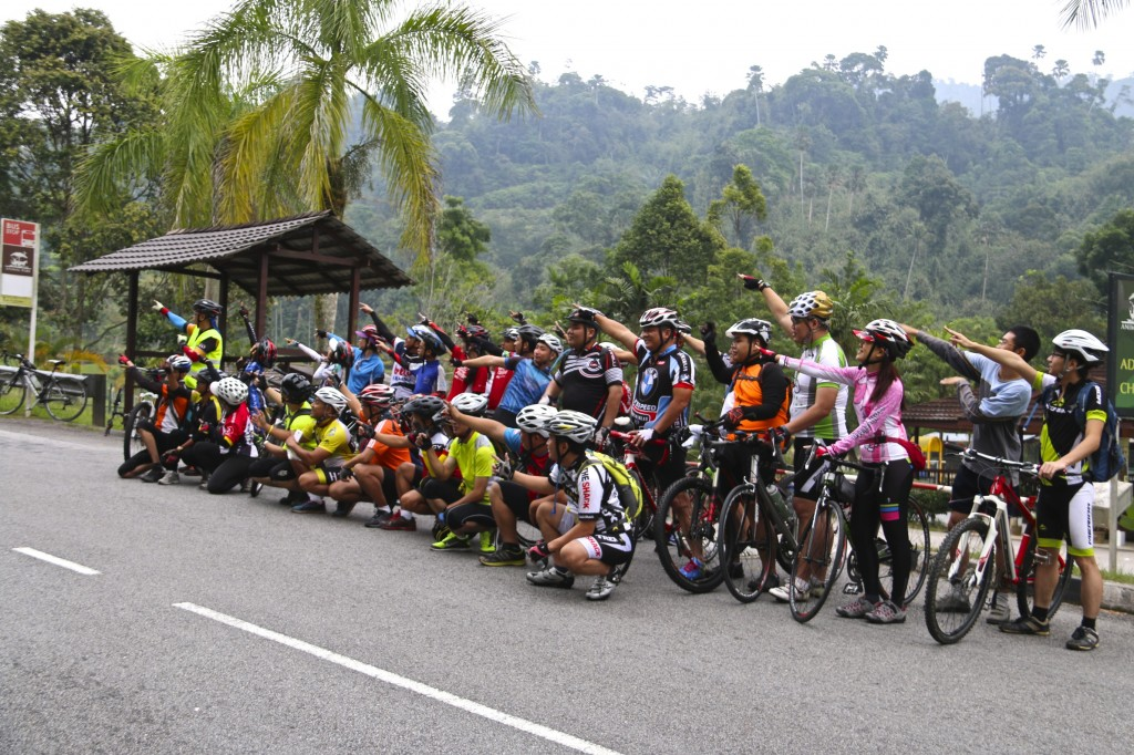All of us cycling together up the Bukit Tinggi