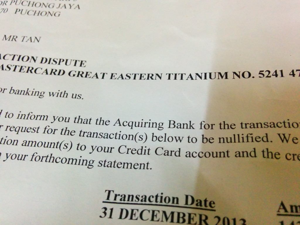 Confirmation by the bank