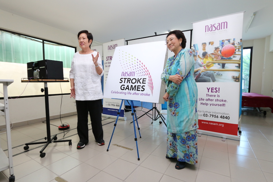 Toh Puan Dato' Seri Hajjah Dr Aishah Ong unveiled the NASAM Stroke Games logo together with Janet Yeo, Founder Chairman of NASAM