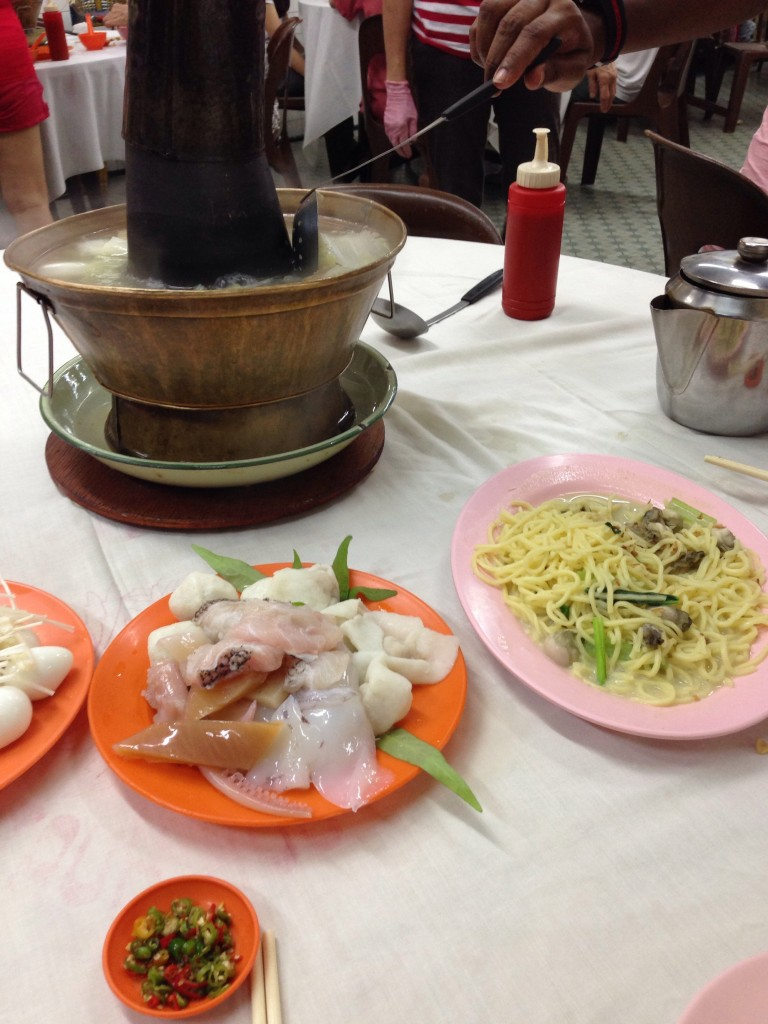 Famous charcoal Goh Huat Seng's steamboat and famous oyster noodle