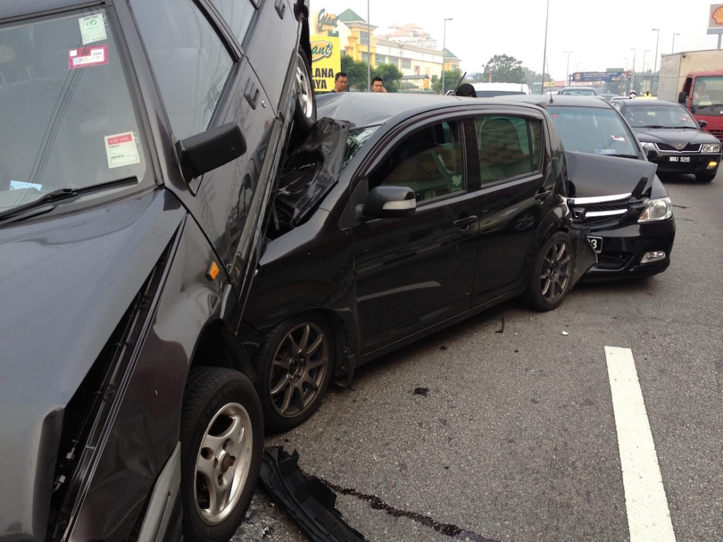 A seriously bad road accident happened to our former beloved Citroen Grand C4 Picasso, about 7 cars piled up along LDP in 2013.