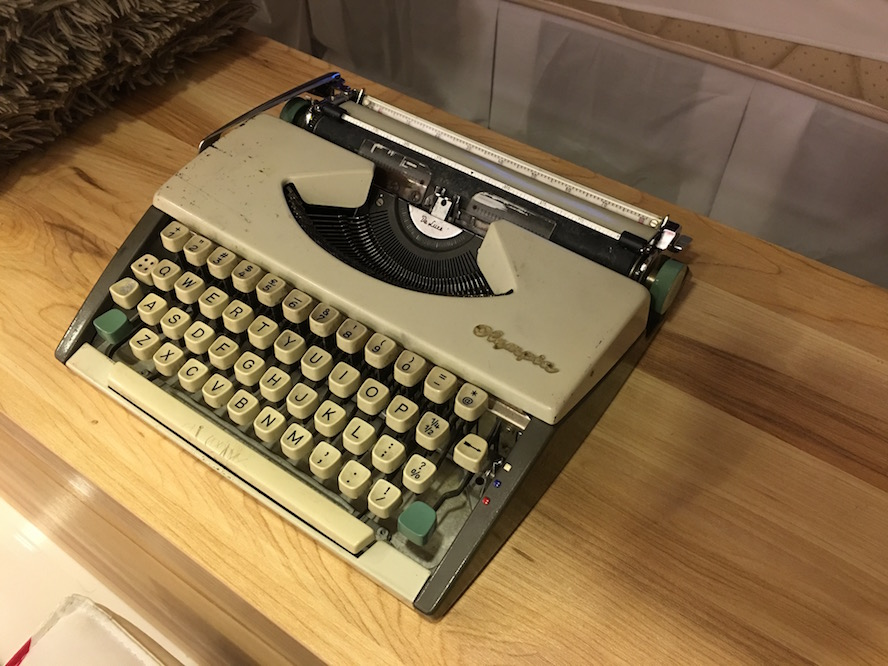 An aged old typewriter from my father, about 50 years old.