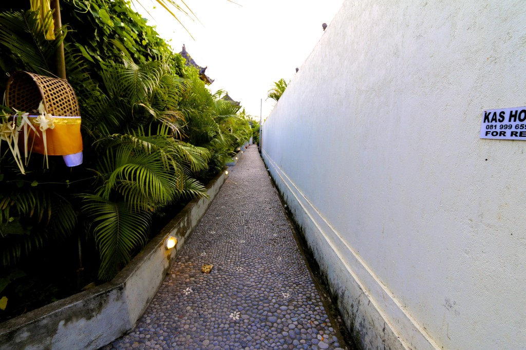 The walk way into the villas, there are 4 on this row