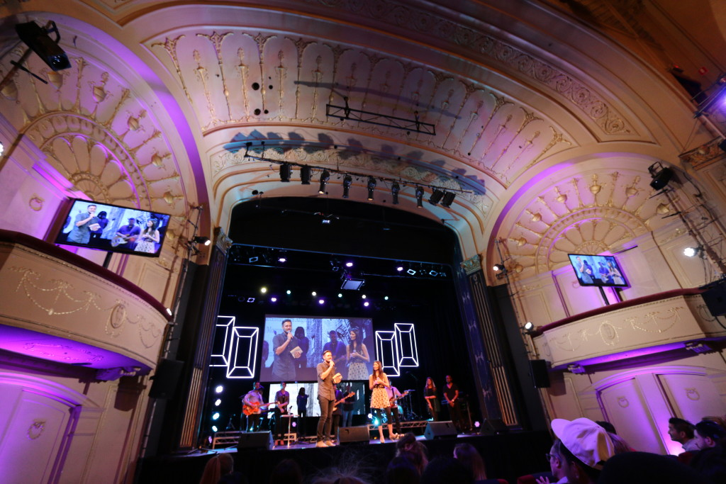 Hillsong Melbourne service, being held in a theatre