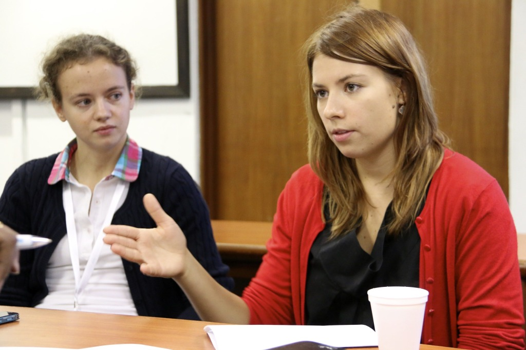 Ms Ekaterina Pshehotskaya, the Techonology Development Director from InfoWatch (left) with Ms Tamara Sokolova, a linguist with InfoWatch speaking to the media at the conference.