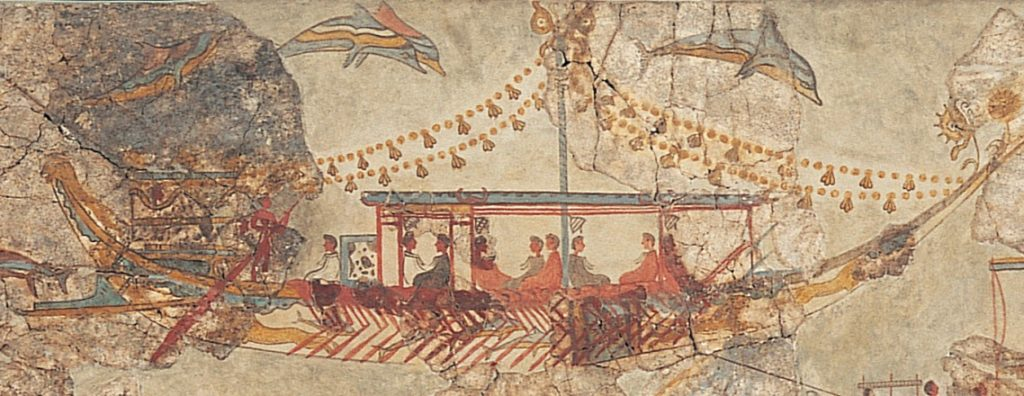 """The Ship In Full Sail"", one of the wall paintings of the historic Cycladic/Minoan settlement"