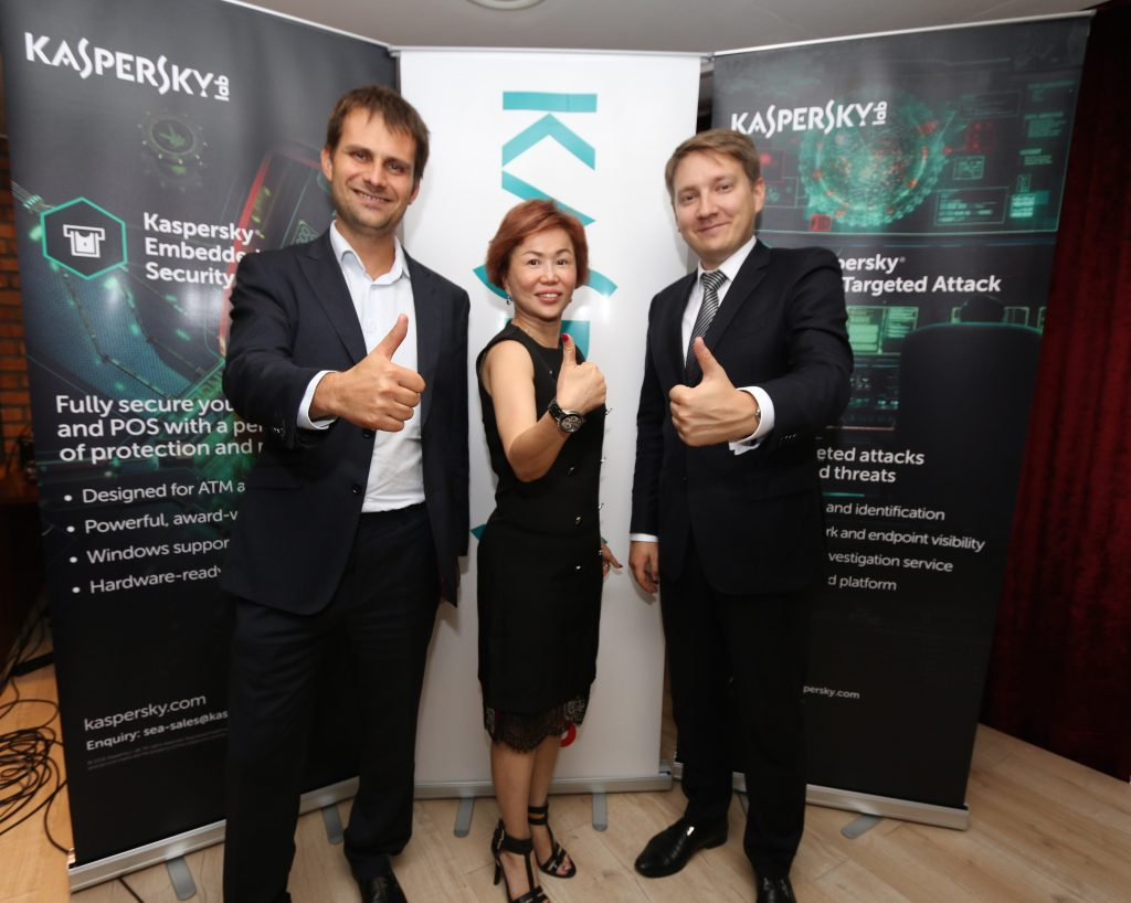Mr Mikhail Nagorny, Head of Security Services, Enterprise Business, Kaspersky Lab, Ms Sylvia Ng, General Manager, Kaspersky Lab, SEA and Mr Oleg Glebov, Solution Business Lead, Kaspersky Lab at Kaspersky Anti Targeted Attack Platform and and New Security Services