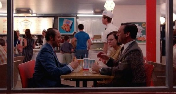 Mad Men Season 7, where Pete, Don and Peggy were having dinner at Burger Chef