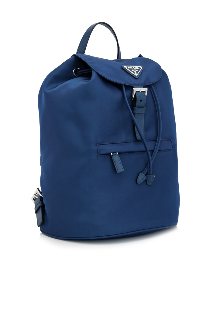 Carry the love of your nation with blue Prada Vela Backpack