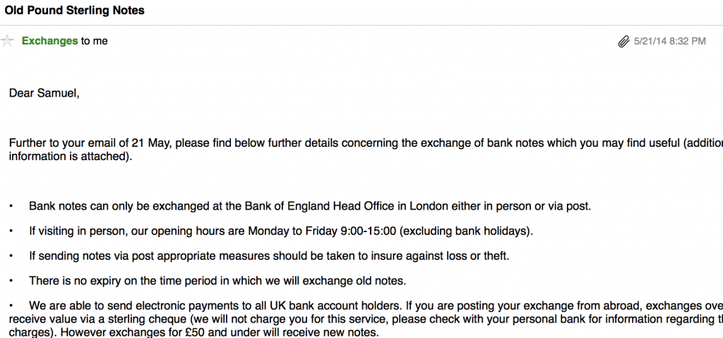 A reply I got from the Bank of England, which is less than 12 hours after I sent my first email with solution.