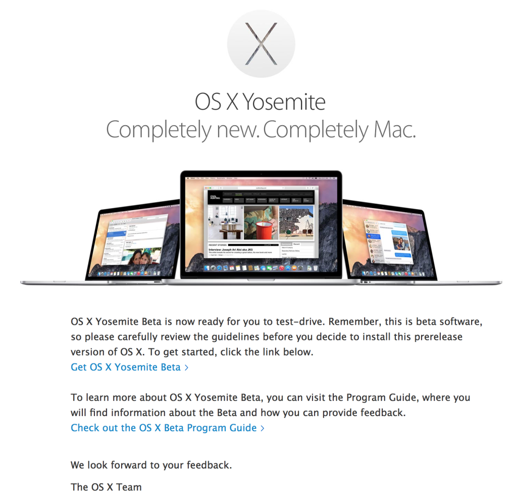 Invitation to Yosemite Beta Test Drive