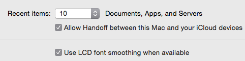 Handoff configuration on Yosemite System Preference