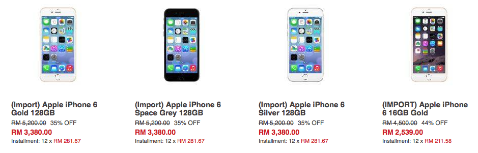 Prices of iPhone 6 on Lazada.com.my