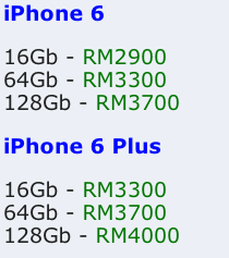 Prices of new iPhones on Low Yat Forum