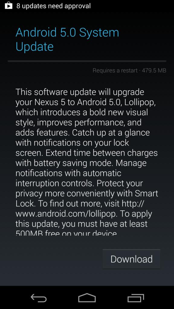 Nexus 5 receives the Lollipop update
